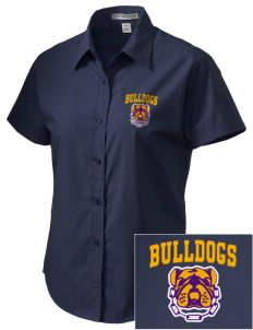 Southwest Community Campus Bulldogs Embroidered Women's Short Sleeve Easy Care, Soil Resistant Shirt