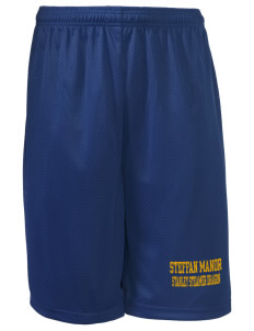 "Steffan Manor Elementary School Stanley Steamer Dragon Long Mesh Shorts, 9"" Inseam"