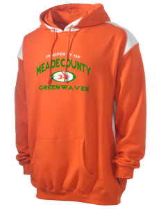 Meade County High School Greenwaves Men's Pullover Hooded Sweatshirt with Contrast Color
