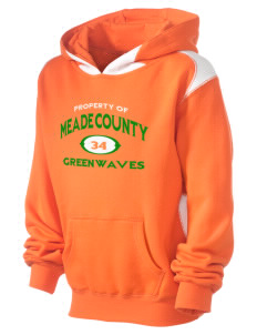 Meade County High School Greenwaves Kid's Pullover Hooded Sweatshirt with Contrast Color