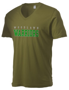 Woodlawn Middle School Warriors Alternative Men's 3.7 oz Basic V-Neck T-Shirt