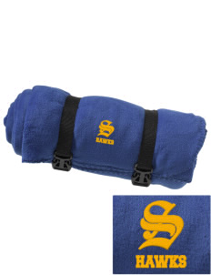William R. Satz School Hawks Embroidered Fleece Blanket with Strap