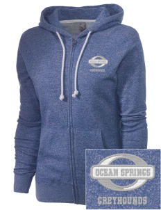 Ocean Springs High School Greyhounds Embroidered Women's Marled Full-Zip Hooded Sweatshirt