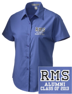 Raytown Middle School Blue Jays Embroidered Women's Short Sleeve Easy Care, Soil Resistant Shirt