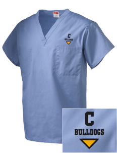 Central Elementary School Bulldogs Embroidered V-Neck Scrub Top