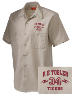 R E Tobler Elementary School Tigers Embroidered Men's Cornerstone Industrial Short Sleeve Work Shirt