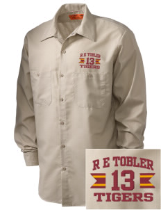 R E Tobler Elementary School Tigers Embroidered Men's Industrial Work Shirt - Regular