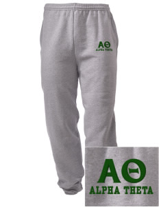 Alpha Theta Embroidered Men's Sweatpants with Pockets