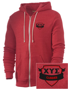 Chi Upsilon Sigma Embroidered Alternative Men's Rocky Zip Hooded Sweatshirt