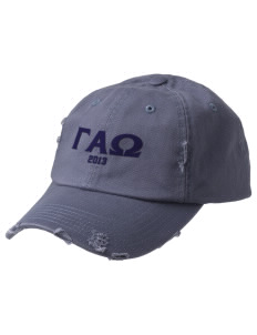 Gamma Alpha Omega Embroidered Distressed Cap