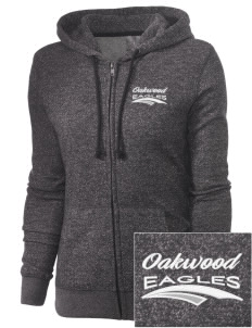 Oakwood Elementary School Eagles Embroidered Women's Marled Full-Zip Hooded Sweatshirt
