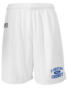 "Saint Rose of Lima Cheney  Russell Men's Mesh Shorts, 7"" Inseam"