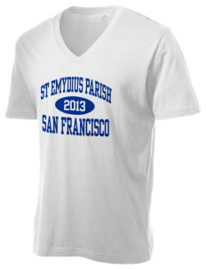 St Emydius Parish San Francisco Alternative Men's 3.7 oz Basic V-Neck T-Shirt