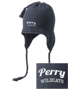 Perry Elementary School Wildcats Embroidered Knit Hat with Earflaps
