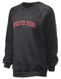 North Side Elementary School Bulldogs Unisex Alternative Eco-Fleece Raglan Sweatshirt with Distressed Applique