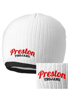 Preston High School Trojans Embroidered Champion Striped Knit Beanie