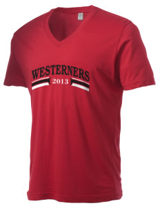 Akron-Westfield Community School Westerners Alternative Men's 3.7 oz Basic V-Neck T-Shirt
