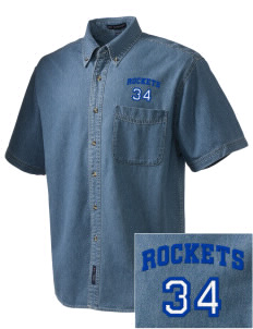 Remsen-Union Community School Rockets  Embroidered Men's Denim Short Sleeve