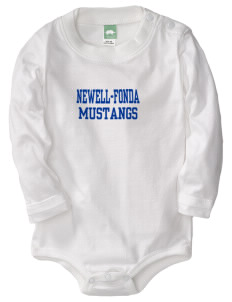 Newell-Fonda Middle School Mustangs  Baby Long Sleeve 1-Piece with Shoulder Snaps