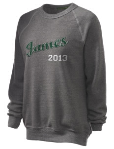 James Elementary School Jets Unisex Alternative Eco-Fleece Raglan Sweatshirt with Distressed Applique
