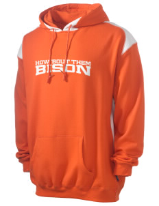 Thompson Middle Elementary School Bison Men's Pullover Hooded Sweatshirt with Contrast Color