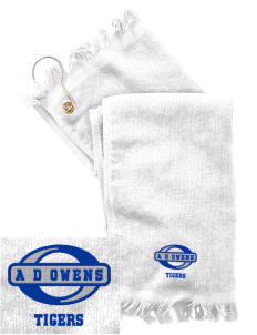 A D Owens Elementary School Tigers  Embroidered Grommeted Finger Tip Towel