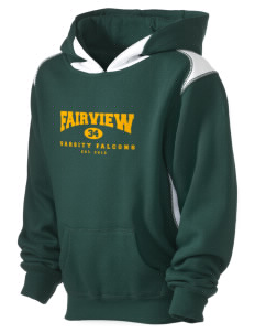 Fairview Elementary School Falcons Kid's Pullover Hooded Sweatshirt with Contrast Color