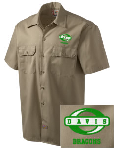 Davis Elementary School Dragons Embroidered Dickies Men's Short-Sleeve Workshirt