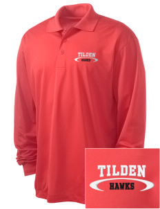 Tilden Elementary School Hawks Embroidered Men's Long Sleeve Micropique Sport-Wick Sport Shirt
