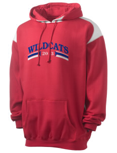 Walter S Miller Elementary School Wildcats Men's Pullover Hooded Sweatshirt with Contrast Color