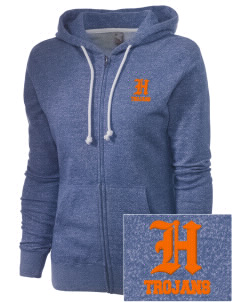 Hershey Elementary School Trojans Embroidered Women's Marled Full-Zip Hooded Sweatshirt