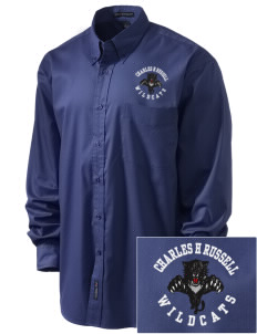 Charles H Russell Elementary School Wildcats Embroidered Men's Easy-Care Shirt
