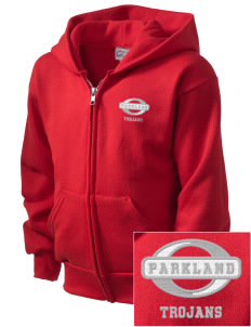 Parkland High School Trojans  Embroidered Kid's Full Zip Hooded Sweatshirt