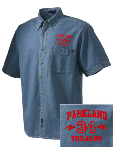 Parkland High School Trojans  Embroidered Men's Denim Short Sleeve