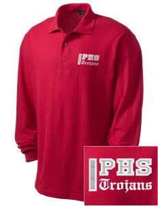 Parkland High School Trojans Embroidered Men's Silk Touch Long-Sleeve Polo