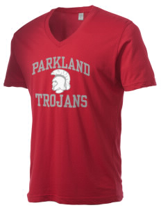 Parkland High School Trojans Alternative Men's 3.7 oz Basic V-Neck T-Shirt