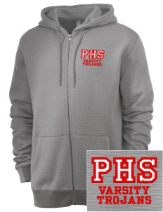 Parkland High School Trojans Embroidered Men's Mini Stripe Full Zip Hooded Sweatshirt