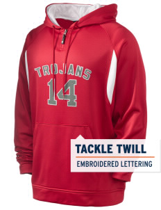 Parkland High School Trojans Holloway Men's Affliction 1/4 Zip Hooded Sweatshirt with Tackle Twill