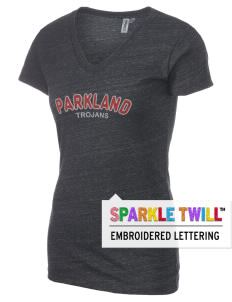 Parkland High School Trojans Women's Tri-Blend V-Neck T-Shirt with Sparkle Twill™