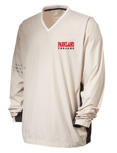 Parkland High School Trojans Embroidered adidas Men's ClimaLite Colorblock V-Neck Wind Shirt