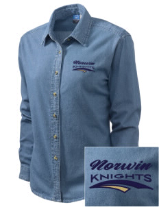 Norwin High School Knights Embroidered Women's Long-Sleeve Denim Shirt