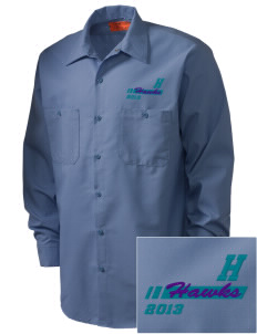 Halmstad Elementary School Hawks Embroidered Men's Industrial Work Shirt - Regular
