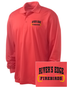 River's Edge High School Firebirds Embroidered Men's Long Sleeve Micropique Sport-Wick Sport Shirt