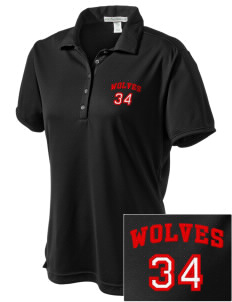 Coupeville High School Wolves  Embroidered Women's Bamboo Charcoal Birdseye Jacquard Polo