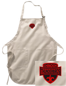 Chinook Middle School Thunderbirds Embroidered Full-Length Apron with Pockets