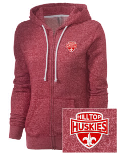 Hilltop Elementary School Huskies Embroidered Women's Marled Full-Zip Hooded Sweatshirt