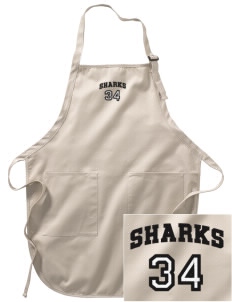 Clark Elementary School Sharks Embroidered Full-Length Apron with Pockets