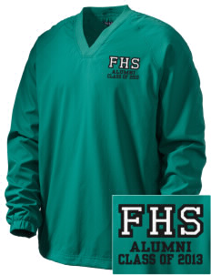 Franklin High School Quakers Embroidered Men's V-Neck Raglan Wind Shirt