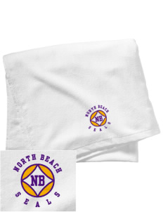 North Beach Elementary School Seals Embroidered Beach Towel