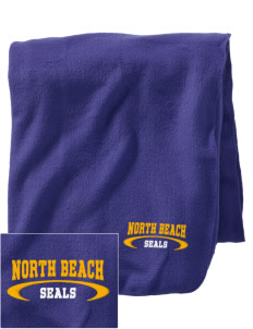 North Beach Elementary School Seals Embroidered Holloway Stadium Fleece Blanket